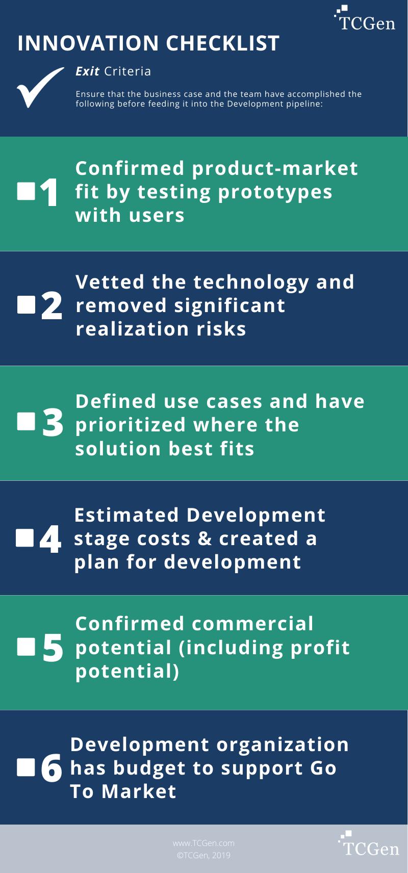 Innovation Checklist: Exit Criteria