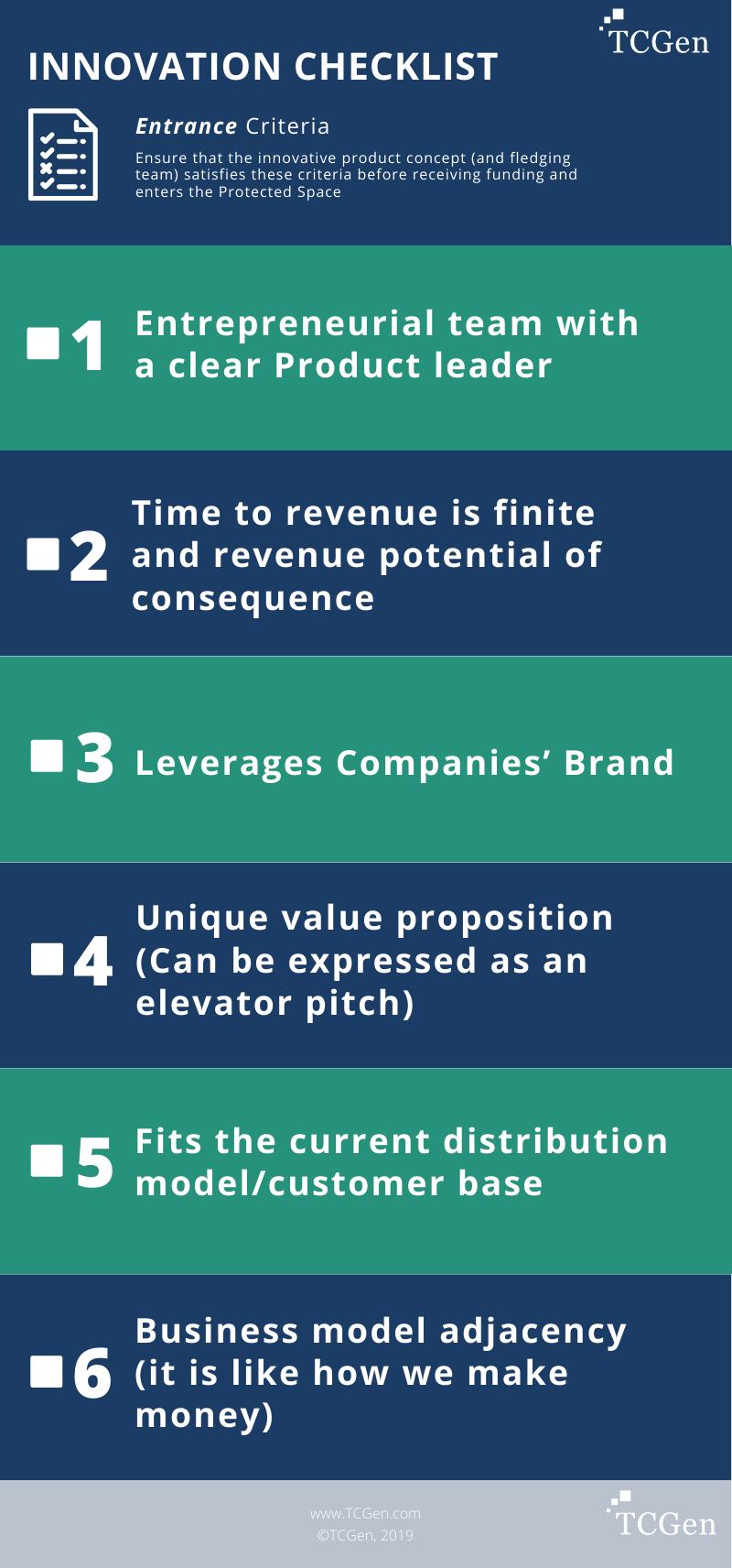 Innovation Checklist: Entrance Criteria